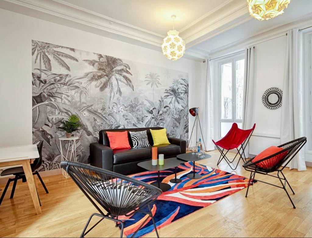 Photo d'aménagement d'un salon pour un appartement locatif meublé