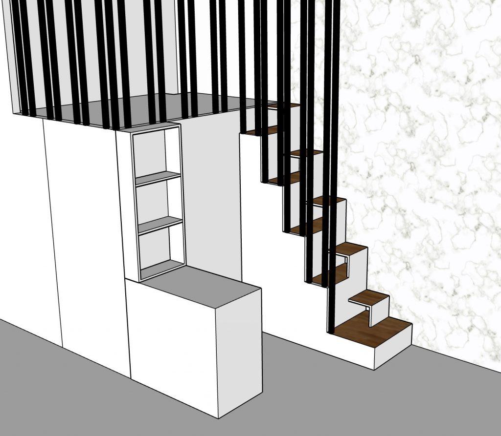 escalier à pas japonais dessiné par Liza Lena pour accéder à une mezzanine