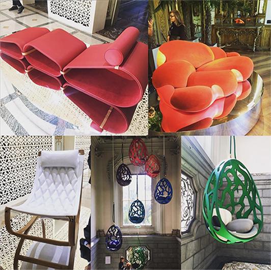 photo de designs créés pour Vuitton pour le salon du meuble milan