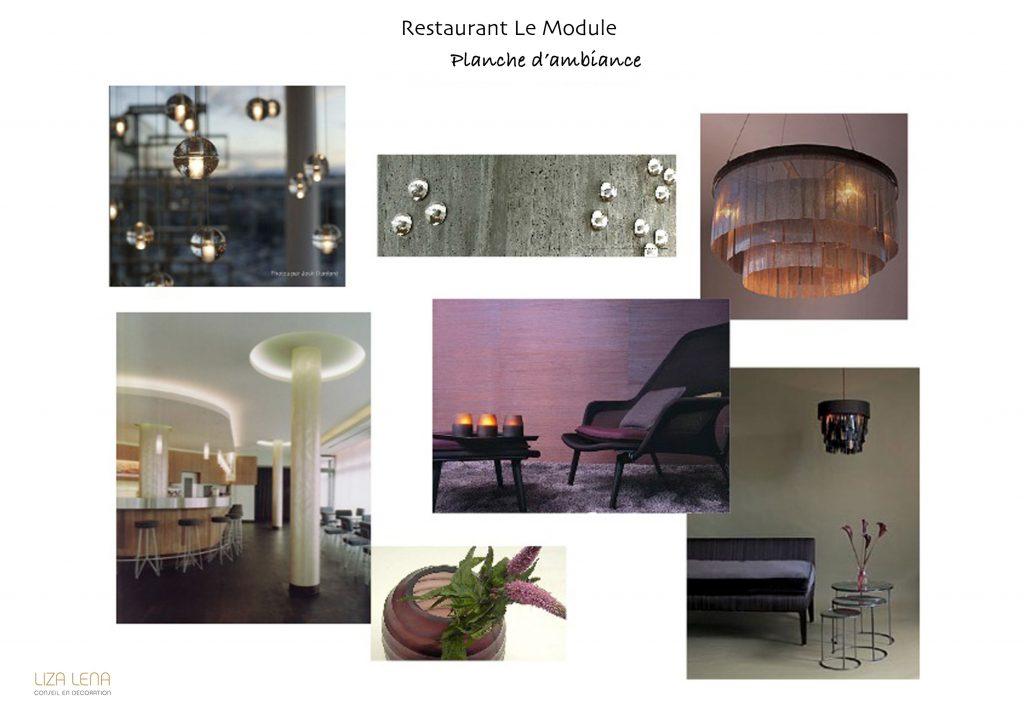 Planche d'ambiance décoration d'un restaurant par Liza Lena