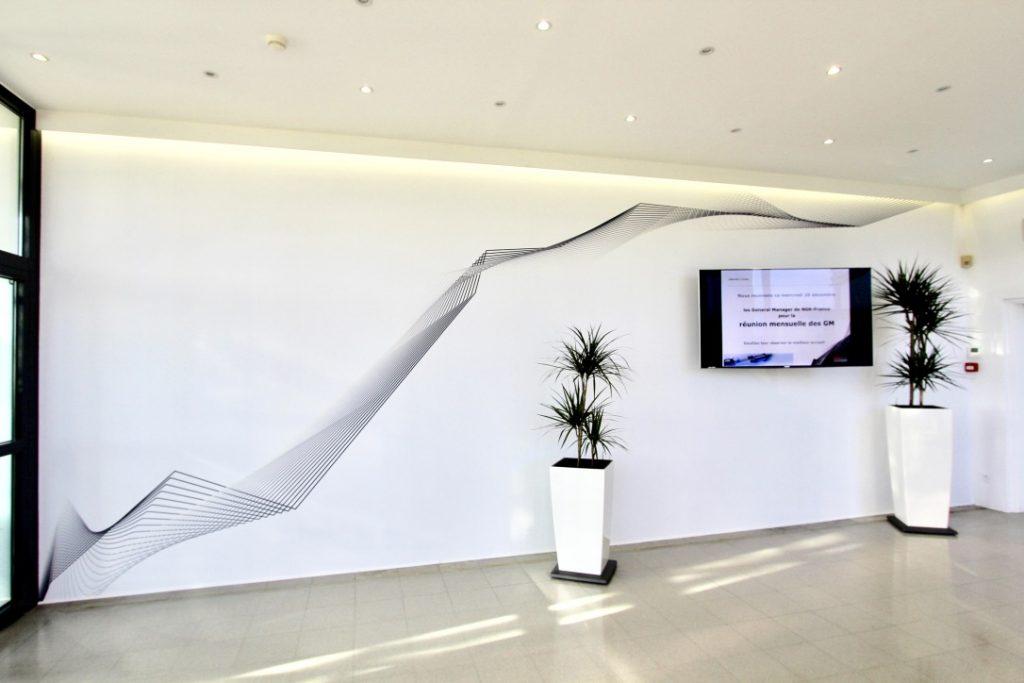 Vue d'un mur imprimé d'un hall d'accueil