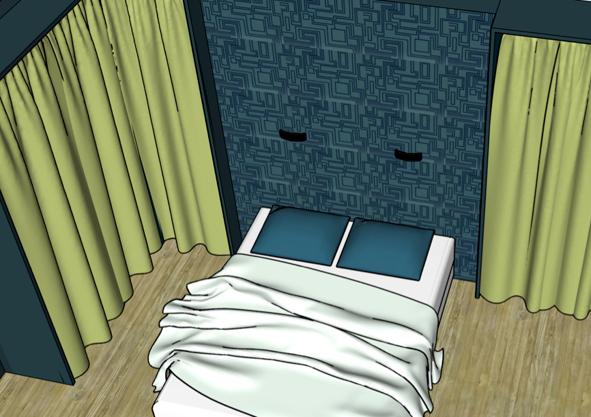 dessin 3D sketchup d'une chambre avec dressing par Liza Lena