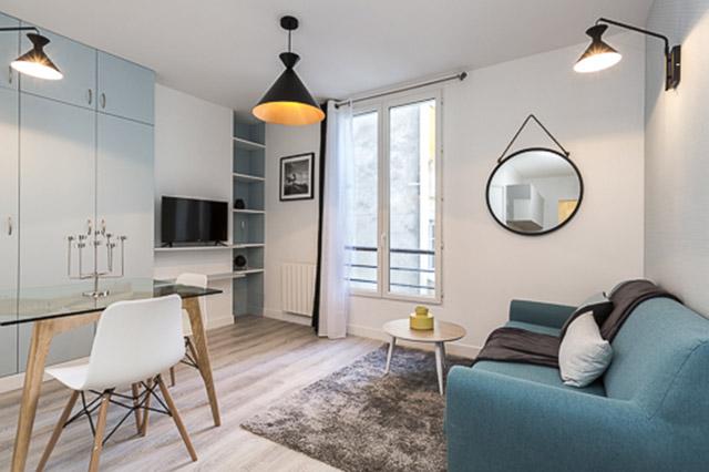 Photo d'un salon avec du mobilier scandinave
