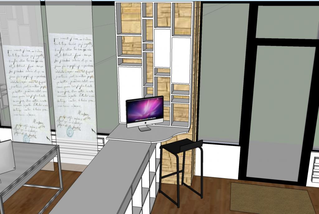 Vue en 3d d'un aménagement sur mesure pour un commerce conçu par Liza Lena