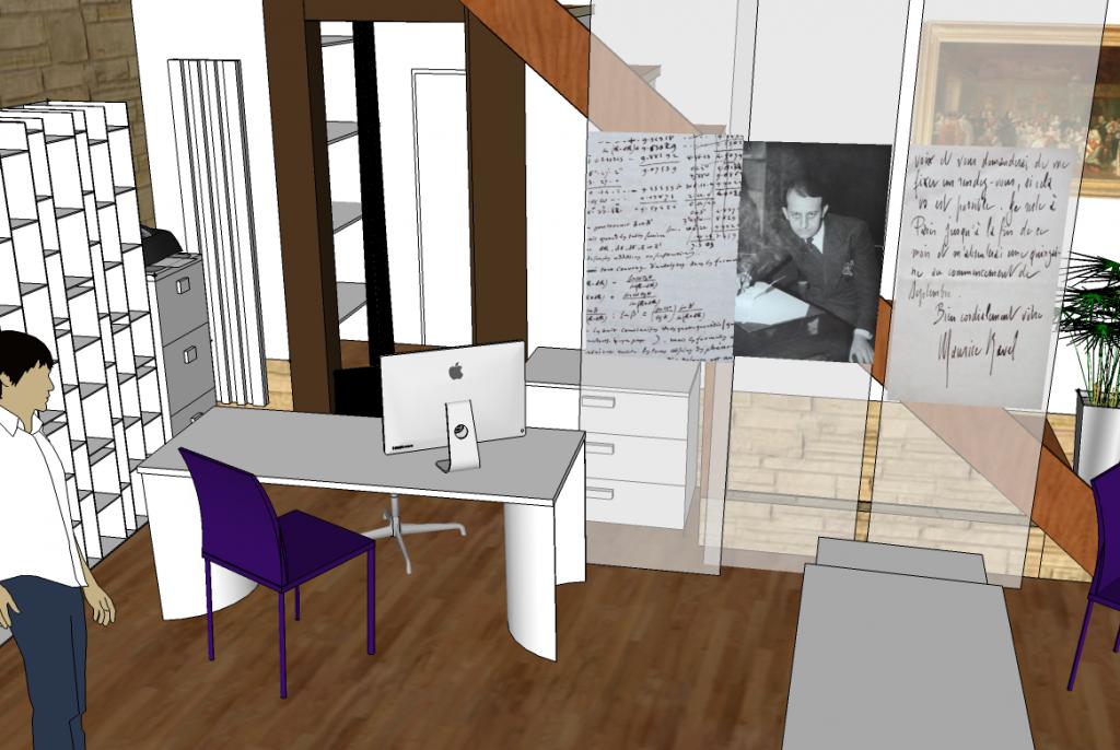 Vue en 3d d'un projet d'aménagement de commerce avec bureau par Liza Lena